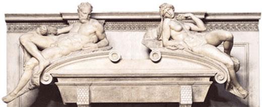 Надгробье Лоренцо Медичи. Вечер и утро 1520-1534 Флоренция, Сан-Лоренцо,  Капелла Медичи