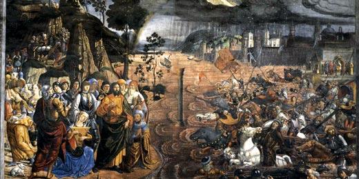 Козимо Россели 'Переправа через Красное море',1481-82гг. Фреска в Сикстинской капелле, Ватикан