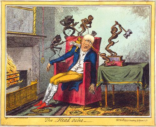 ''Головная боль''. Карикатура Джеймса Гилрея  (James Gillray), 1819