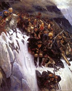 «Переход Суворова через Альпы в 1799 году». Суриков В. И. (Фрагмент)