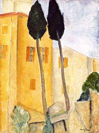 Модильяни: Кипарисы и дом (1919)