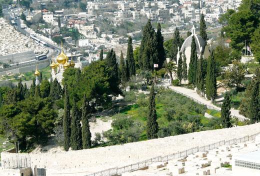 Вид с Масличной горы на церковь Марии Магдалины (слева)и Слезы Господней (справа) Фото Б.Вайнблата