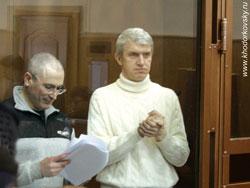 М. Ходорковский и П.Лебедев в зале суда
