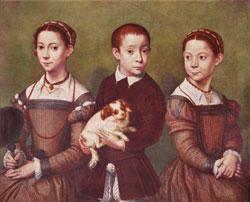 Трое детей с собачкой