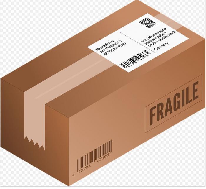 почтовая посылка с лейблом