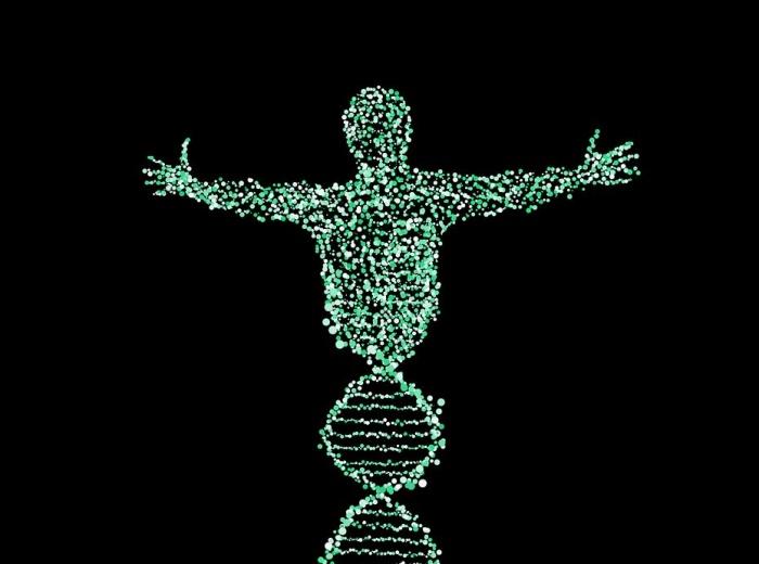силуэт человека из спирали ДНК