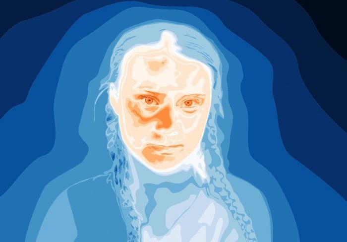 портрет Греты Тунберг