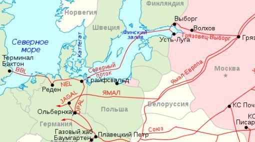 карта Северного потока